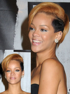 Rihanna with side shaved short hair