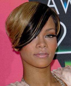 Rihanna rocks a sexy front streak