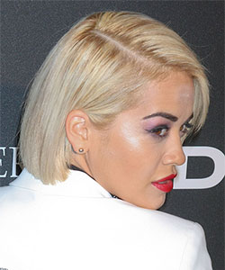 Rita Ora with blunt bob haircut in blonde