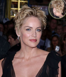 Sharon Stone short with formal look with front and back view