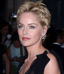 Sharon Stone short with formal look in black dress