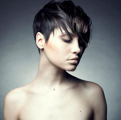 short black hair color chuncky fringe - front view