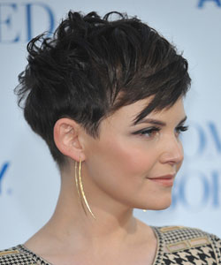 Ginnifer Goodwin with short choppy hair side view
