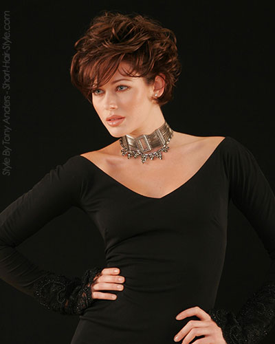 model with dark red and textured bangs and ends