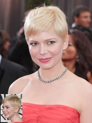 Michelle Williams with pixie crop in blond hair color