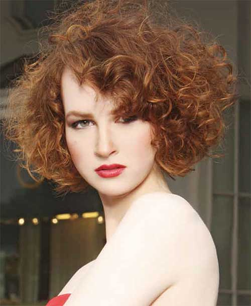 Short Curly Hair In Deep Rich Red Color