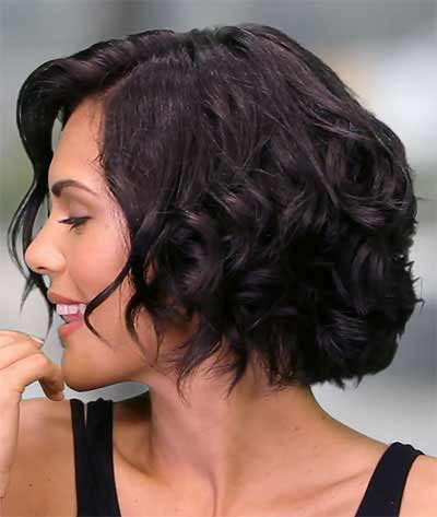 a short wavy hair in black hair color - before