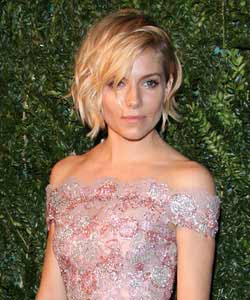 Sienna Miller with choppy bob in waves front view