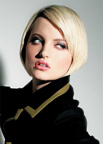 Short bob hairstyle with light blonde hair color