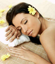 beautiful woman in spa sleeping and resting