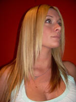long blonde hair chemically straightened with CDR