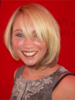 short blonde straight hair styled in bob
