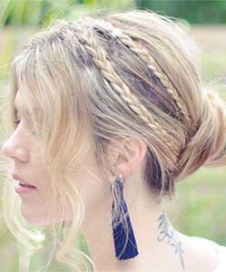 medium length hair with tiny braids on sides