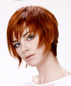 short hair with movement - red copper