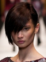 side fringe asian model dark hair color