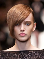 short hair appearance with side bangs runway style