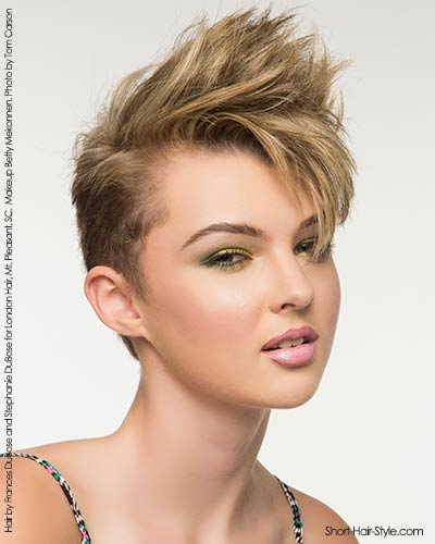 half up and half down on a short haircut with well-defined pieces