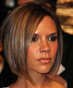 Victoria Beckham angled bob haircut front view