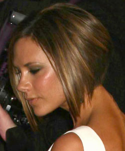 Victoria Beckham with angled bob haircut in brown with caramel highlight