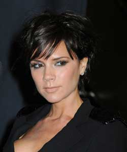 Victoria Beckham with short black hair
