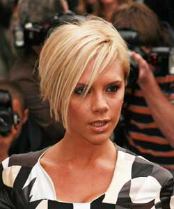 Victoria Beckham with short blond hair
