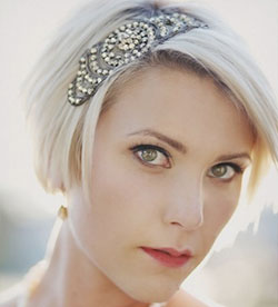 short platinum hair decorated with vintage hair accessory