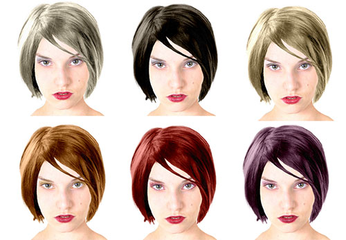 same model with 6 different hair colors