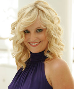 styled wavy blond hair medium length