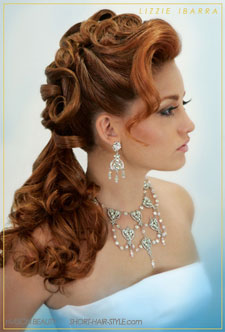 red brunette wedding style with loose curls