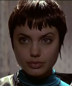 Angelina Jolie from movie hacker when she had pixie haircut in 1995