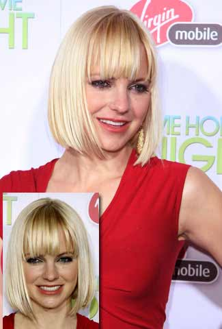 chin-length bob haircut with full bangs in blonde hair color