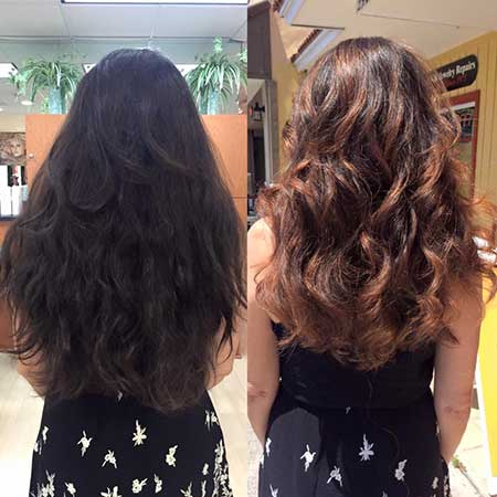 balayage color on long hair before after image - back view