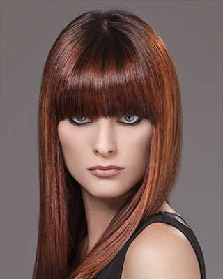 multi dimentional straight hair with blunt bangs