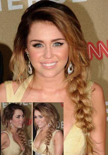 Miley Cyrus in casual braided style
