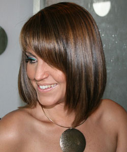 lovely model with brunette color and caramel highlight by Lizzie