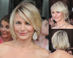 Cameron Diaz with chin-length bob and side bangs