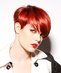short haircut in hot red color styled straight