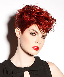 short haircut in hot red color styled with wavy top