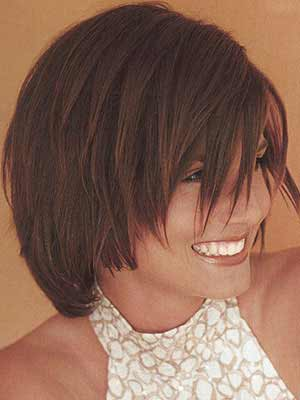 Girl with beautiful layered haircut side view