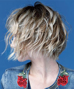 cute messy bob hairstyle in wavy