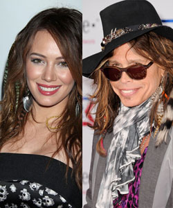 couple of celebrities wearing hair extentions with feathers including Steven Tyler
