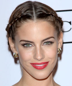 Braided hairstyle from center part