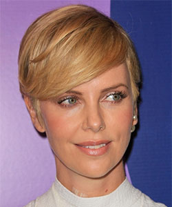 charlize theron with grown pixie haircut front