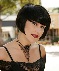 black hair color above chin haircut in classic bob front view