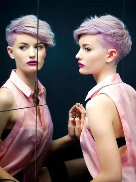 undercut hair with funky lilac hair color