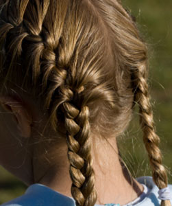 large view french braids on both sides
