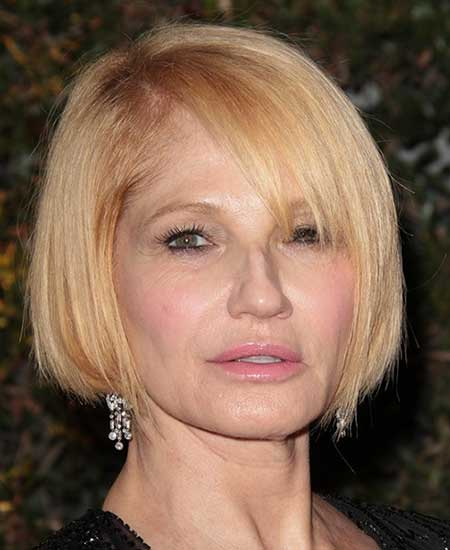Ellen Barkin, side part, straight chin-length bob