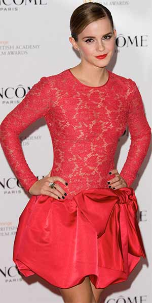 Emma Watson full look with red lace dress at lancom pre BAFTA party at the Savoy Hotel in London