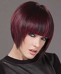Dark Geometric bob hair cut with red violet highlights