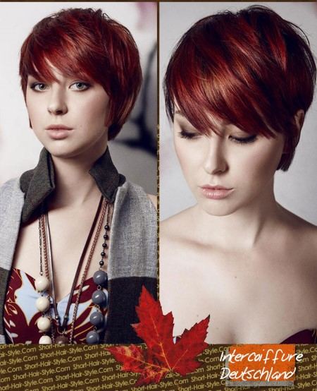 Deep red hair color in warm and cold shades